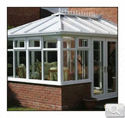 uPVC white Edwardian Conservatory with dwarf wall