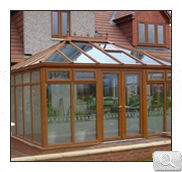 Golden Oak wood effect Edwardian conservatory