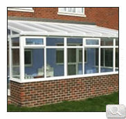 Traditional lean to style conservatory in white uPVC