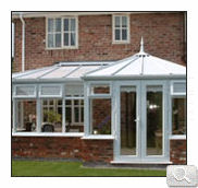 P shaped style conservatory in white uPVC